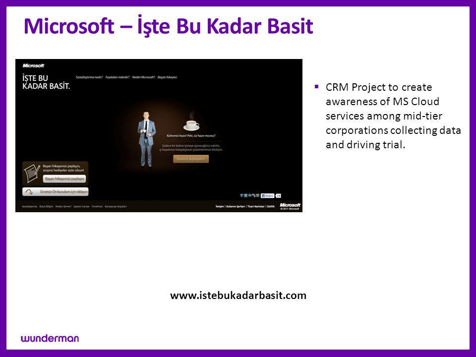 Microsoft – İşte Bu Kadar Basit  CRM Project to create awareness of MS Cloud services among mid-tier corporations collecting data and driving trial.