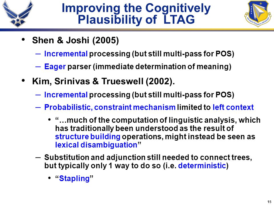 15 Improving the Cognitively Plausibility of LTAG Shen & Joshi (2005) – Incremental processing (but still multi-pass for POS) – Eager parser (immediate determination of meaning) Kim, Srinivas & Trueswell (2002).