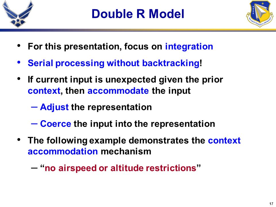 17 For this presentation, focus on integration Serial processing without backtracking.
