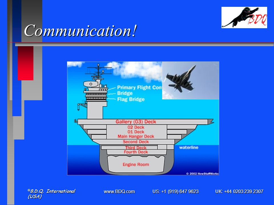 www.BDQ.com US: +1 (919) 647 9623 UK: +44 0203 239 2307 © B.D.Q. International (USA) Communication!