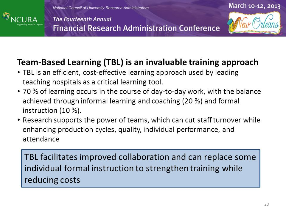 20 Team-Based Learning (TBL) is an invaluable training approach TBL is an efficient, cost-effective learning approach used by leading teaching hospita