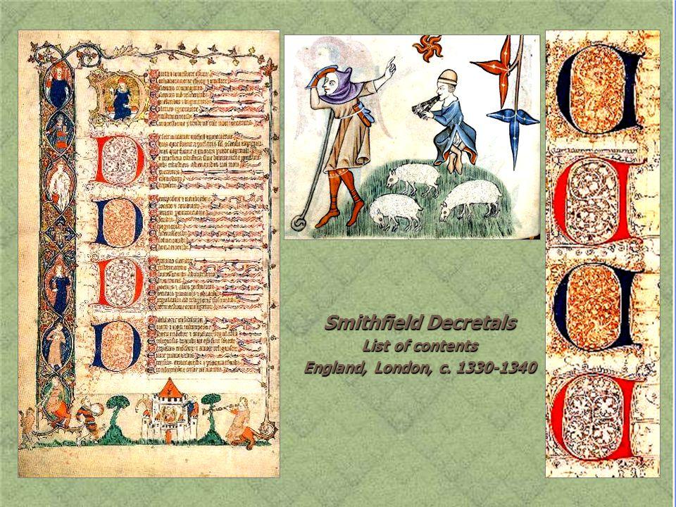 Smithfield Decretals List of contents England, London, c. 1330-1340