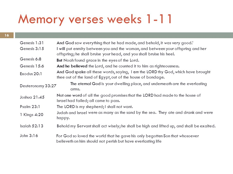Memory verses weeks 1-11 16 Genesis 6:8 Genesis 1:31And God saw everything that he had made, and behold, it was very good.' Genesis 3:15I will put enmity between you and the woman, and between your offspring and her offspring; he shall bruise your head, and you shall bruise his heel.