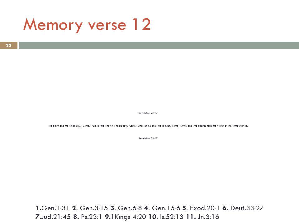 Memory verse 12 22 1.Gen.1:31 2. Gen.3:15 3. Gen.6:8 4.