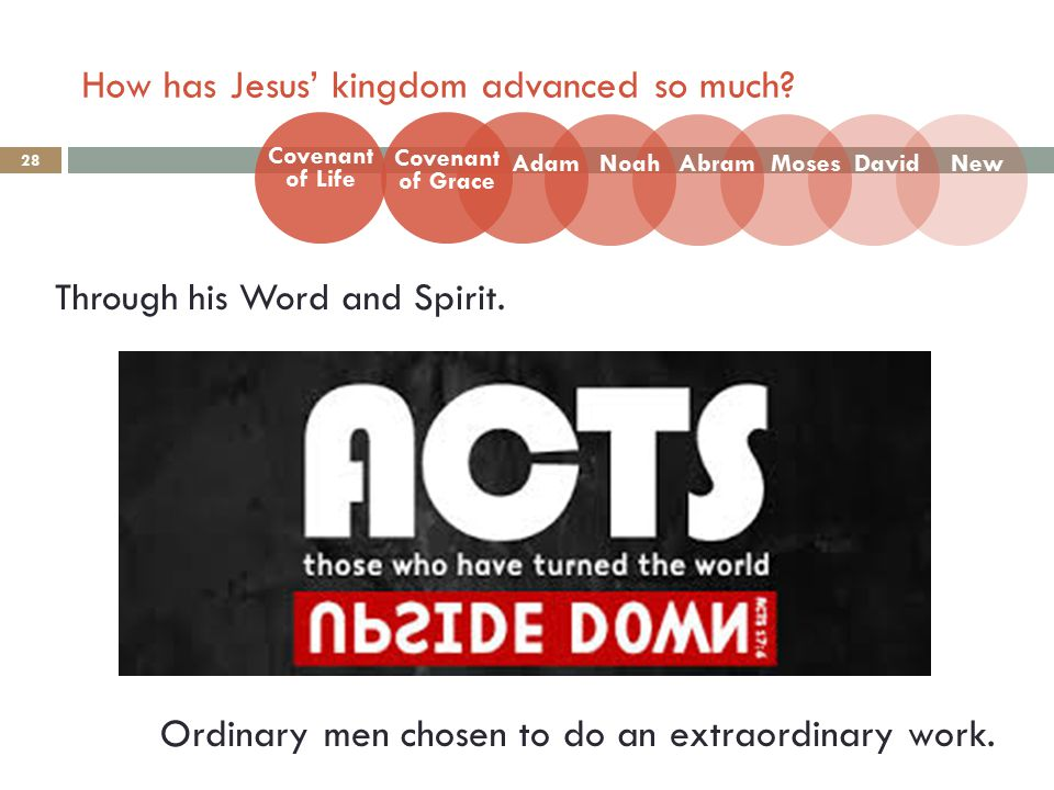 How has Jesus' kingdom advanced so much. 28 Through his Word and Spirit.