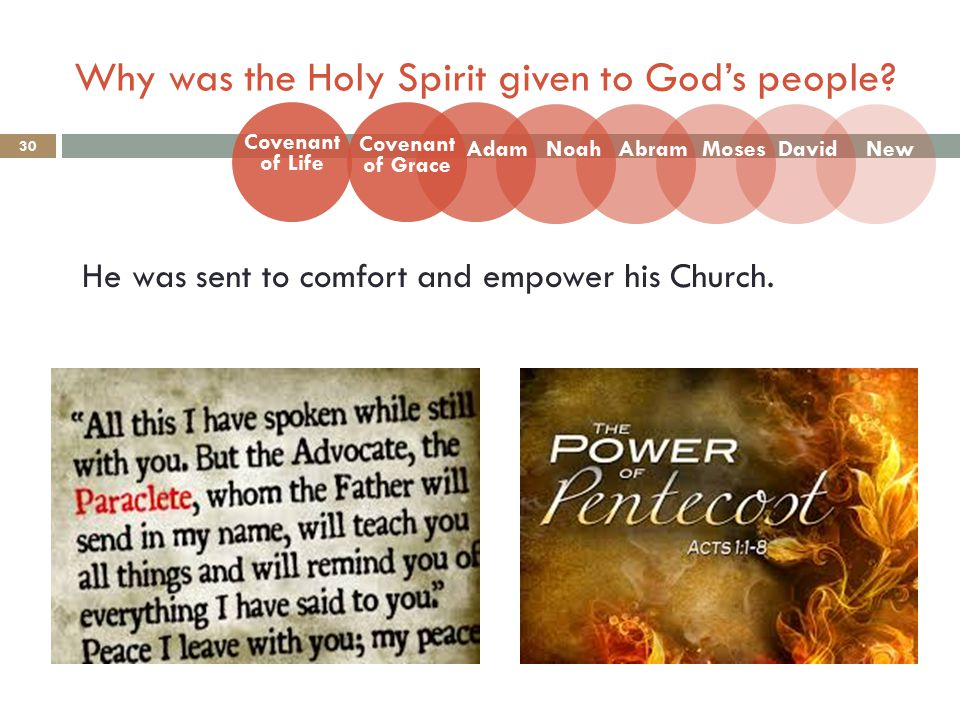 Why was the Holy Spirit given to God's people. 30 He was sent to comfort and empower his Church.