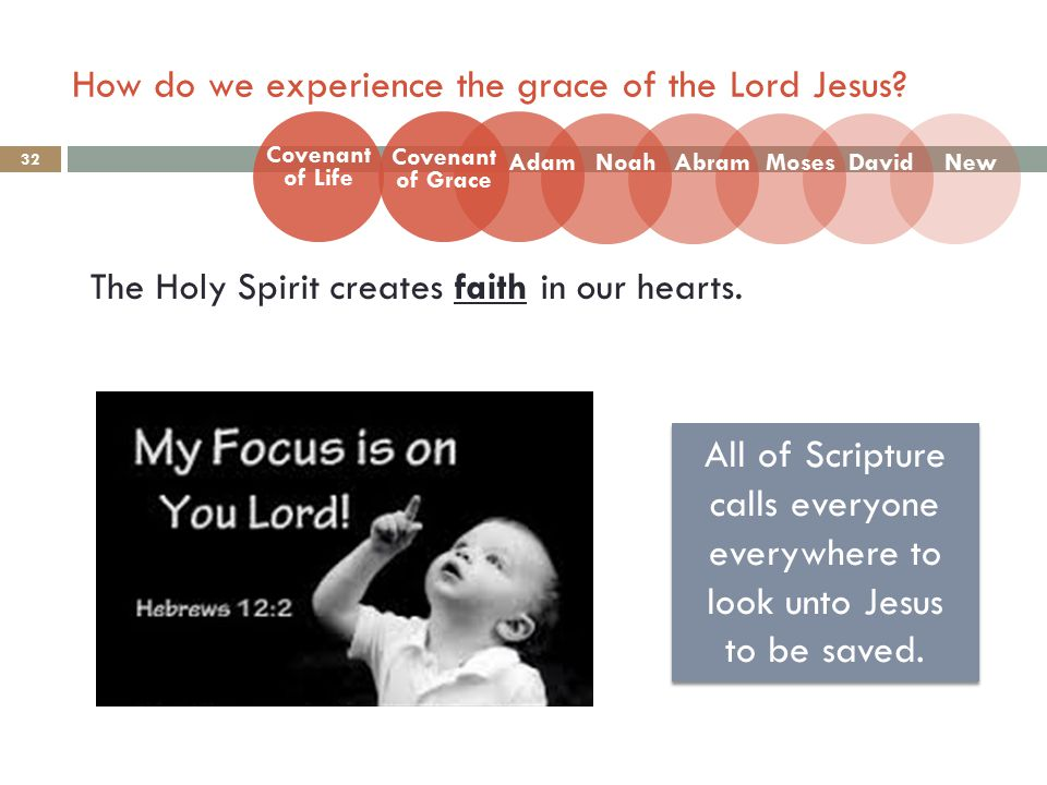 How do we experience the grace of the Lord Jesus. 32 The Holy Spirit creates faith in our hearts.
