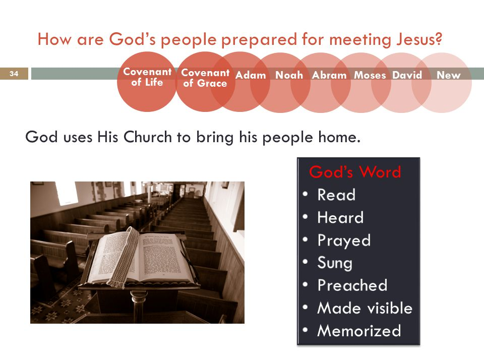 How are God's people prepared for meeting Jesus. 34 God uses His Church to bring his people home.