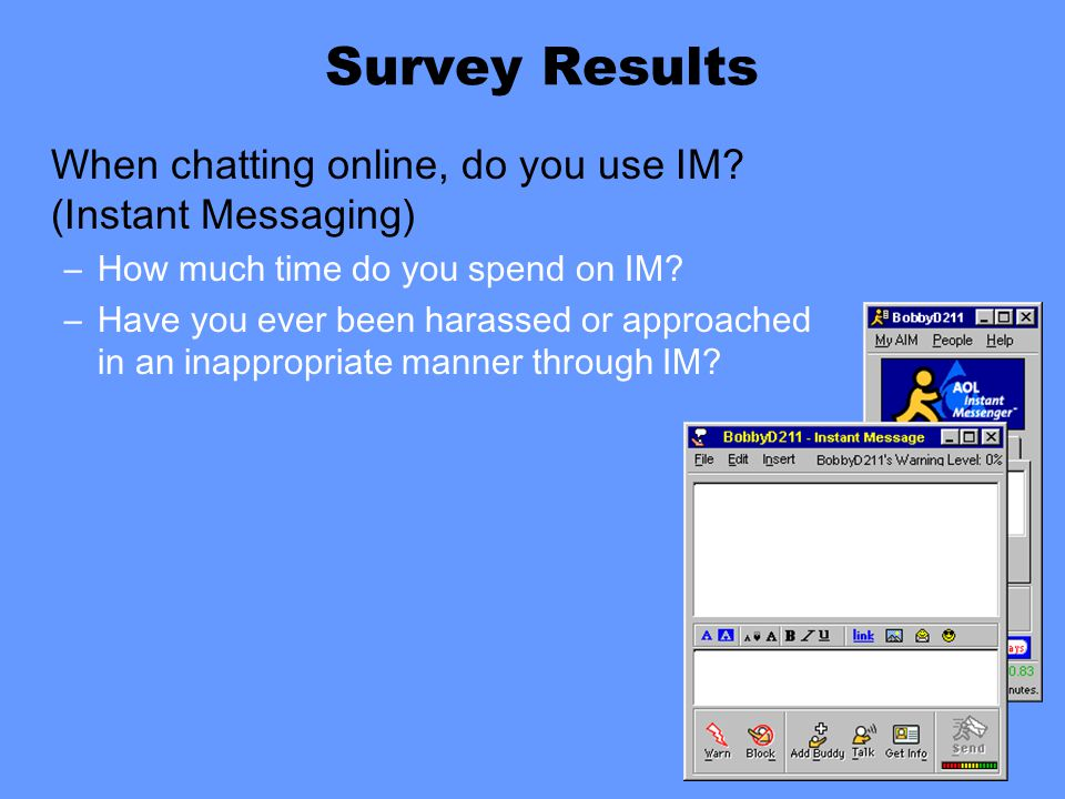 When chatting online, do you use IM. (Instant Messaging) –How much time do you spend on IM.