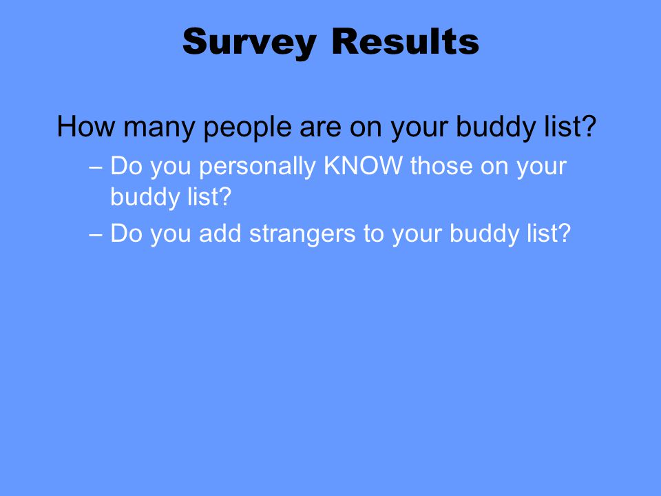 Survey Results How many people are on your buddy list.