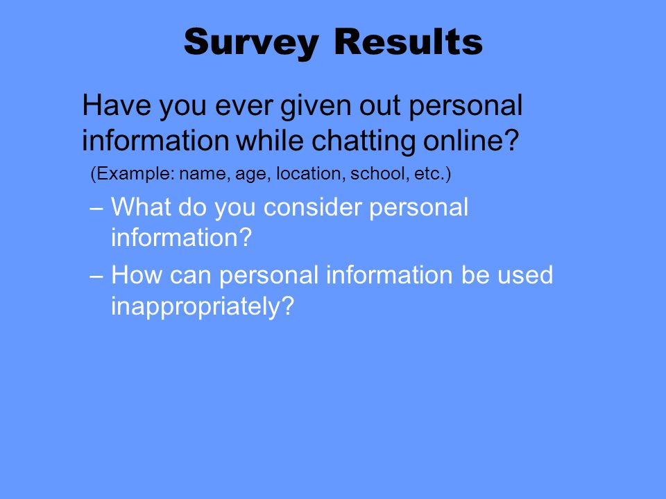 Survey Results Have you ever given out personal information while chatting online.