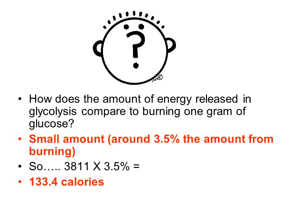 How does the amount of energy released in glycolysis compare to burning one gram of glucose.