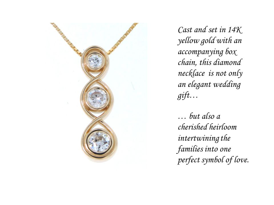 Cast and set in 14K yellow gold with an accompanying box chain, this diamond necklace is not only an elegant wedding gift… … but also a cherished heir