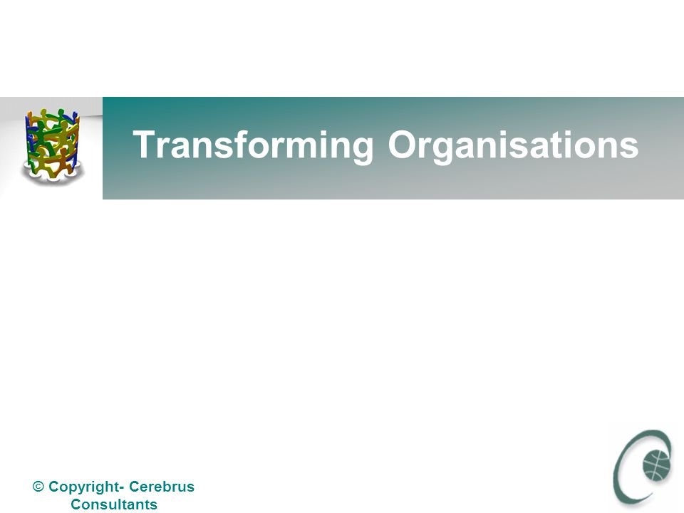 © Copyright- Cerebrus Consultants Organisation Transformation: Relooking at Organisation Structures Cerebrus Consultants