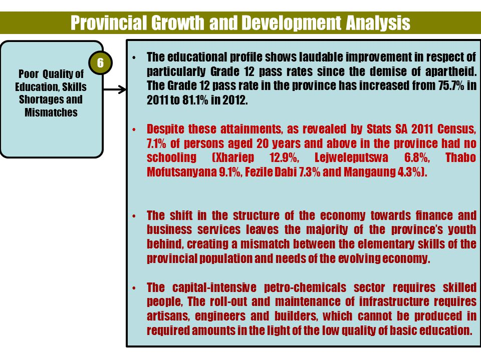 11 Provincial Growth and Development Analysis The educational profile shows laudable improvement in respect of particularly Grade 12 pass rates since the demise of apartheid.
