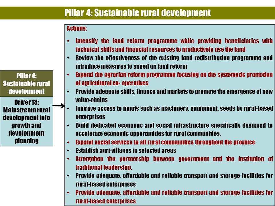 33 Pillar 4: Sustainable rural development Driver 13: Mainstream rural development into growth and development planning Actions: Intensify the land reform programme while providing beneficiaries with technical skills and financial resources to productively use the land Review the effectiveness of the existing land redistribution programme and introduce measures to speed up land reform Expand the agrarian reform programme focusing on the systematic promotion of agricultural co- operatives Provide adequate skills, finance and markets to promote the emergence of new value-chains Improve access to inputs such as machinery, equipment, seeds by rural-based enterprises Build dedicated economic and social infrastructure specifically designed to accelerate economic opportunities for rural communities.