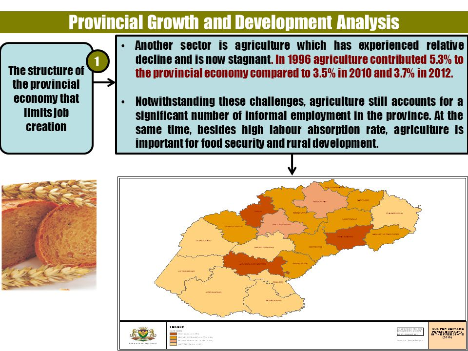 5 Provincial Growth and Development Analysis Another sector is agriculture which has experienced relative decline and is now stagnant.