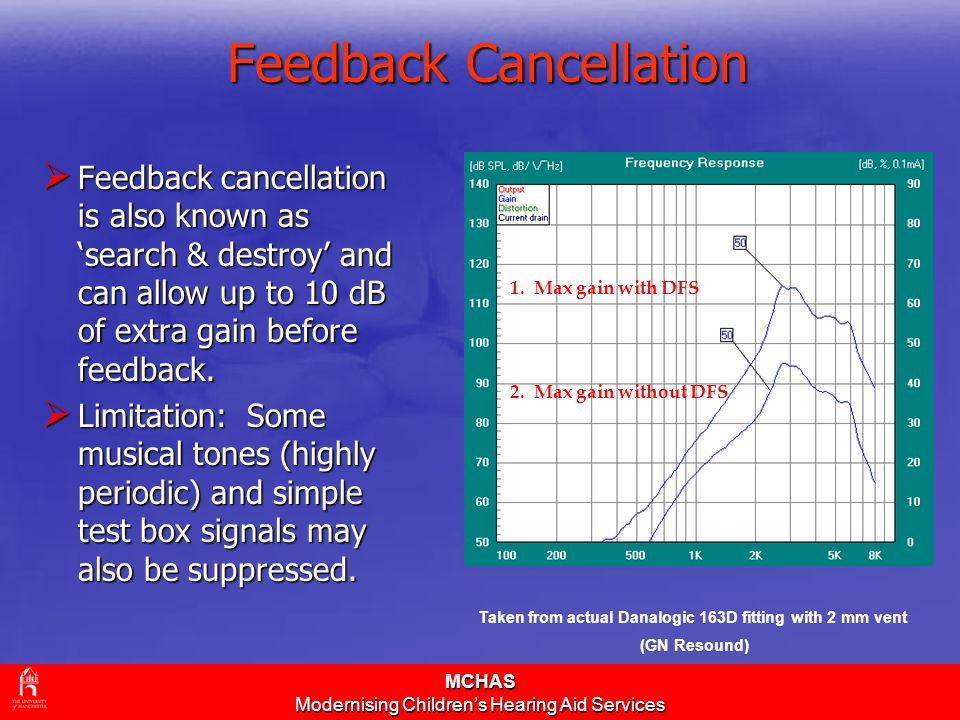 MCHAS Modernising Children's Hearing Aid Services Feedback Cancellation  Feedback cancellation is also known as 'search & destroy' and can allow up t