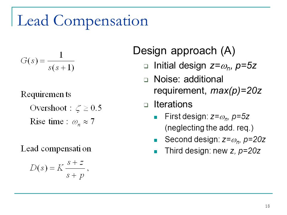 18 Lead Compensation Design approach (A)  Initial design z=  n, p=5z  Noise: additional requirement, max(p)=20z  Iterations First design: z=  n, p=5z (neglecting the add.