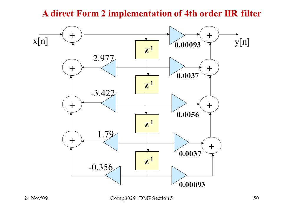 24 Nov 09Comp30291 DMP Section 550 z -1 + + + + + + + + 0.00093 2.977 -3.422 1.79 -0.356 0.00093 x[n] y[n] 0.0037 0.0056 0.0037 A direct Form 2 implementation of 4th order IIR filter