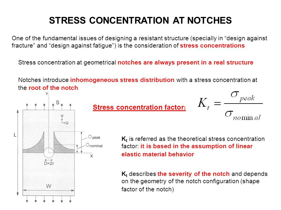 """STRESS CONCENTRATION AT NOTCHES One of the fundamental issues of designing a resistant structure (specially in """"design against fracture"""" and """"design a"""