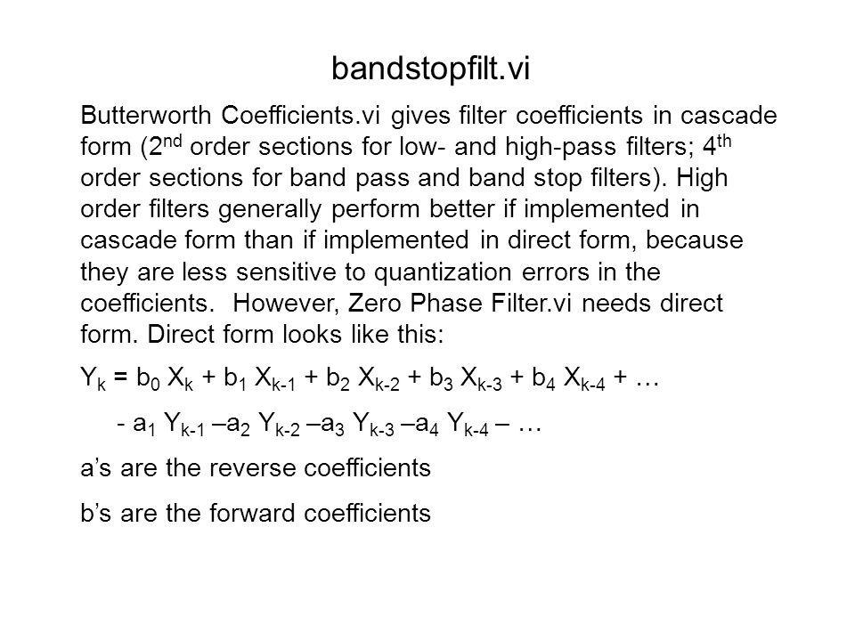 Block diagram of bandstopfilt.vi