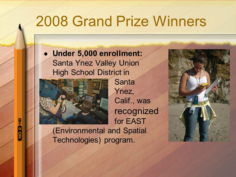 2008 Grand Prize Winners Under 5,000 enrollment: Santa Ynez Valley Union High School District in Santa Ynez, Calif., was recognized for EAST (Environmental and Spatial Technologies) program.