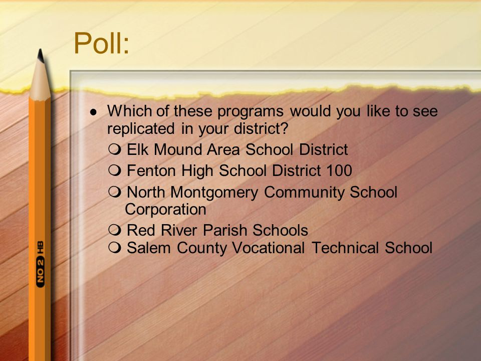 Poll: Which of these programs would you like to see replicated in your district.