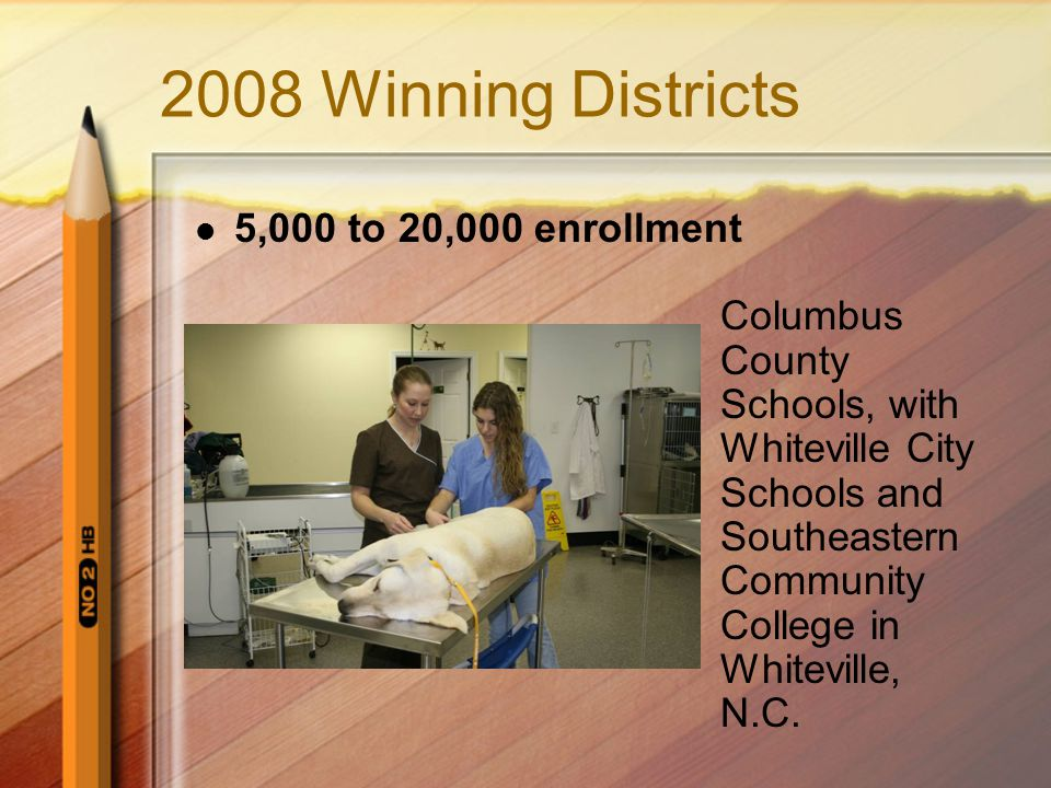2008 Winning Districts 5,000 to 20,000 enrollment Columbus County Schools, with Whiteville City Schools and Southeastern Community College in Whiteville, N.C.
