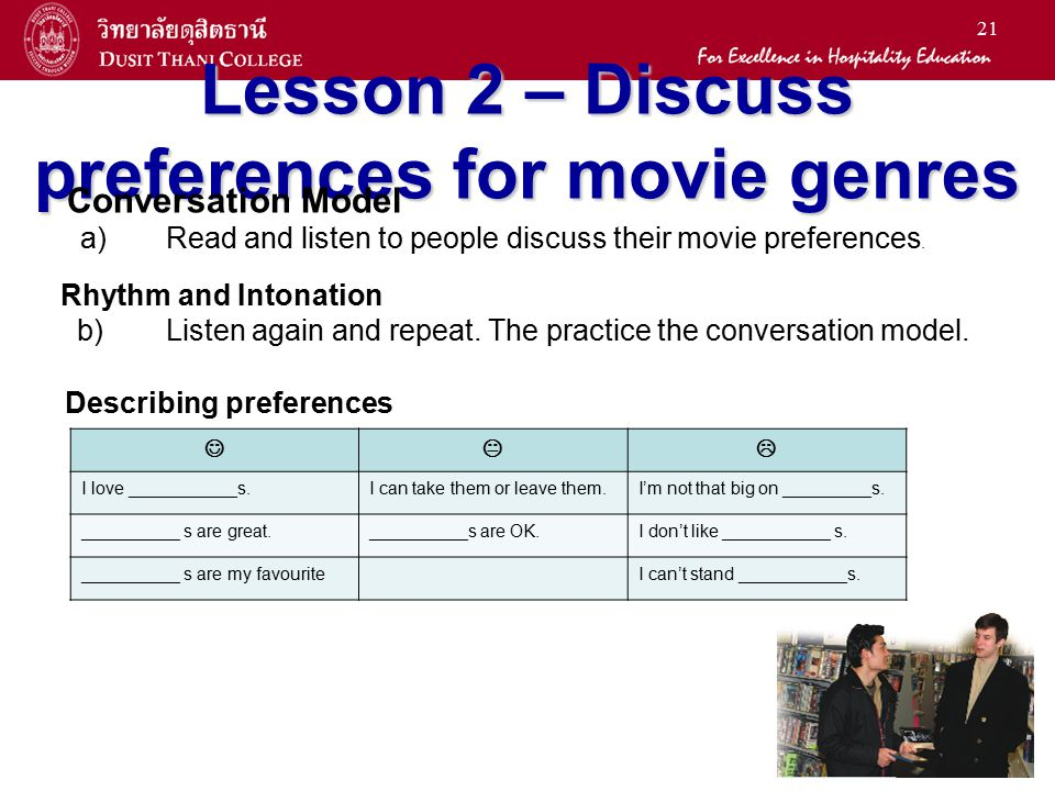 21 Lesson 2 – Discuss preferences for movie genres Conversation Model a) Read and listen to people discuss their movie preferences. Rhythm and Intonat