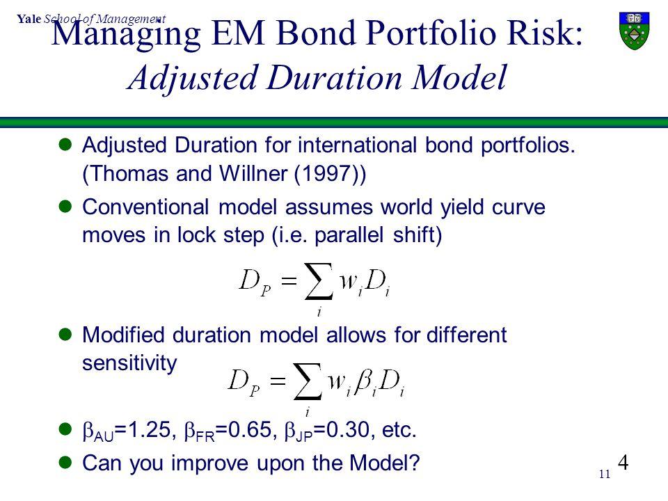 Yale School of Management 11 Managing EM Bond Portfolio Risk: Adjusted Duration Model Adjusted Duration for international bond portfolios. (Thomas and