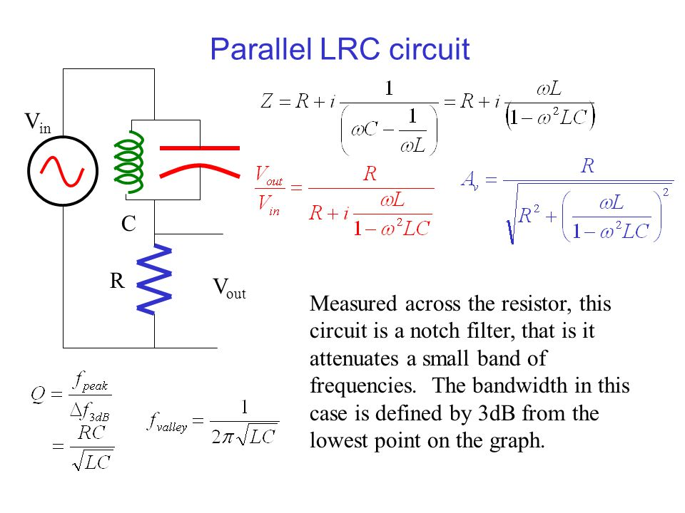 Parallel LRC circuit Measured across the resistor, this circuit is a notch filter, that is it attenuates a small band of frequencies. The bandwidth in