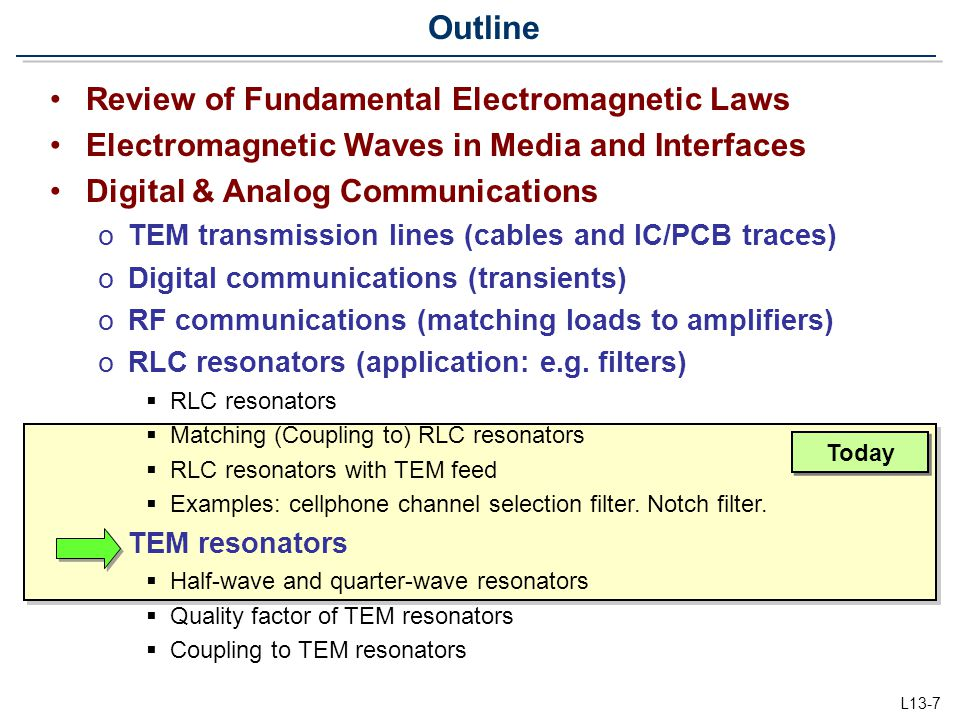 L13-7 Review of Fundamental Electromagnetic Laws Electromagnetic Waves in Media and Interfaces Digital & Analog Communications oTEM transmission lines