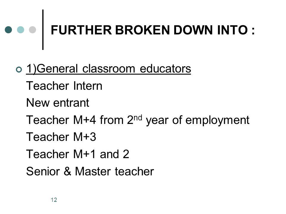 12 FURTHER BROKEN DOWN INTO : 1)General classroom educators Teacher Intern New entrant Teacher M+4 from 2 nd year of employment Teacher M+3 Teacher M+