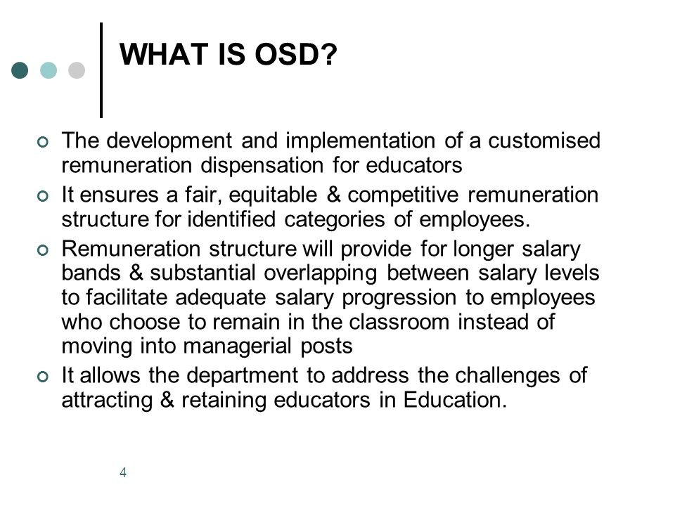4 WHAT IS OSD.
