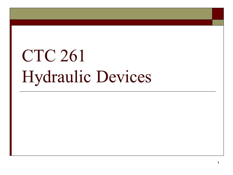 1 CTC 261 Hydraulic Devices