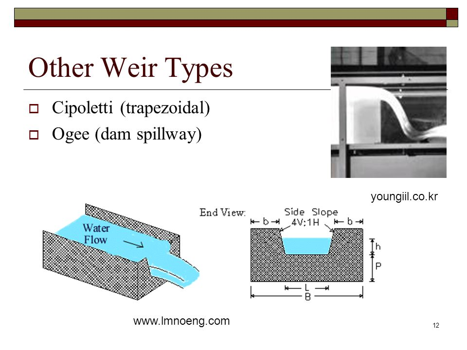 12 Other Weir Types  Cipoletti (trapezoidal)  Ogee (dam spillway) www.lmnoeng.com youngiil.co.kr