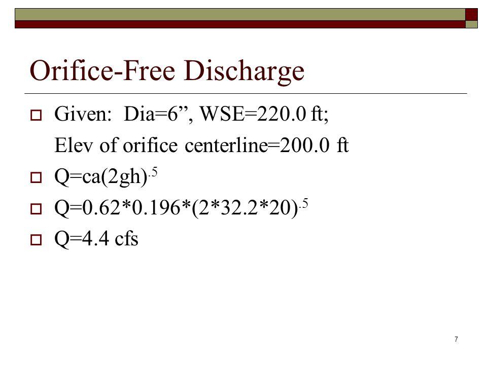 "7 Orifice-Free Discharge  Given: Dia=6"", WSE=220.0 ft; Elev of orifice centerline=200.0 ft  Q=ca(2gh).5  Q=0.62*0.196*(2*32.2*20).5  Q=4.4 cfs"