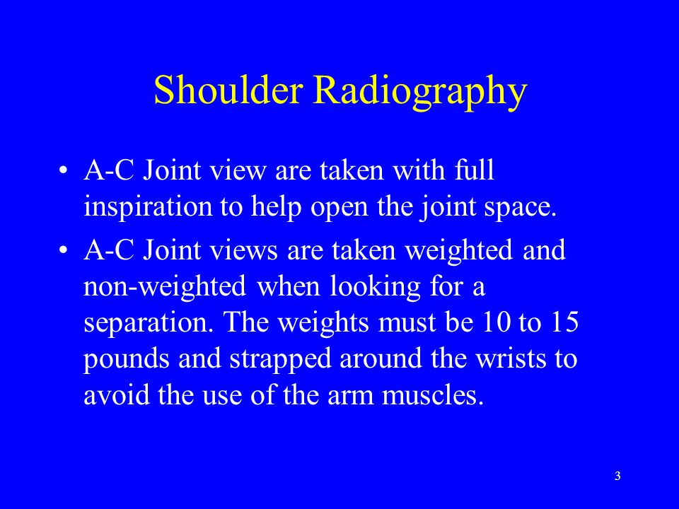 64 Acromioclavicular Joint Unilateral Patient stands facing tube with mid-sagittal plane perpendicular to film.