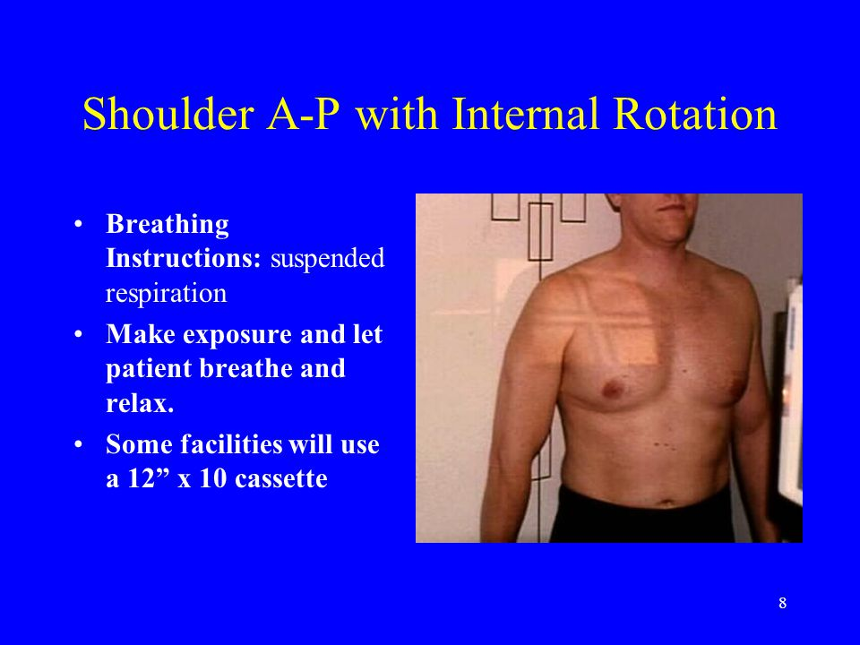 8 Shoulder A-P with Internal Rotation Breathing Instructions: suspended respiration Make exposure and let patient breathe and relax. Some facilities w