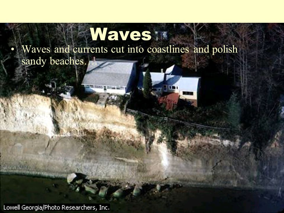 Waves Waves and currents cut into coastlines and polish sandy beaches….