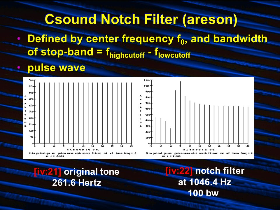 Csound Notch Filter (areson) Defined by center frequency f 0, and bandwidth of stop-band = f highcutoff - f lowcutoffDefined by center frequency f 0, and bandwidth of stop-band = f highcutoff - f lowcutoff pulse wavepulse wave [iv:21] original tone 261.6 Hertz [iv:22] notch filter at 1046.4 Hz 100 bw