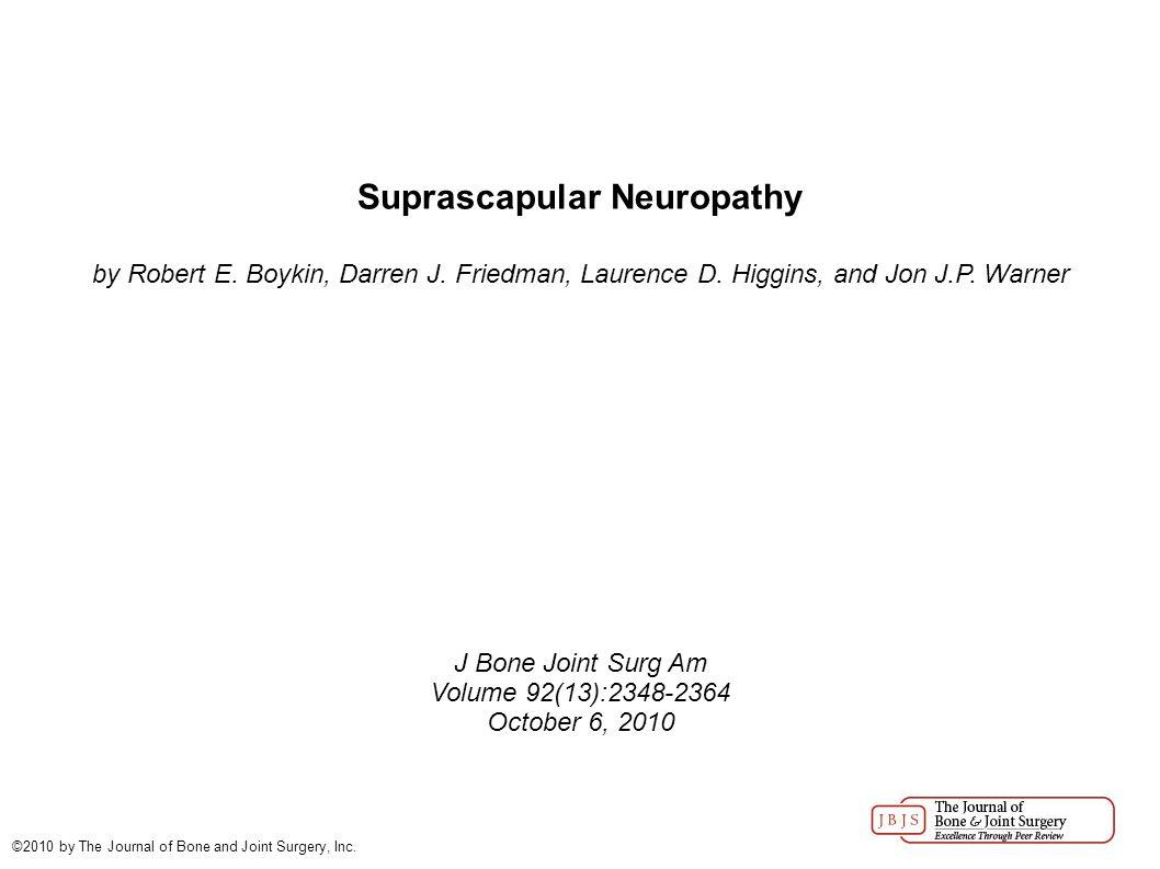 Suprascapular Neuropathy by Robert E. Boykin, Darren J.