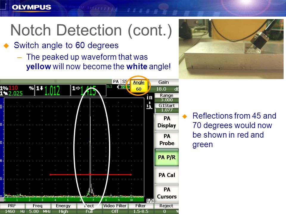 Notch Detection (cont.) u Switch angle to 60 degrees –The peaked up waveform that was yellow will now become the white angle.