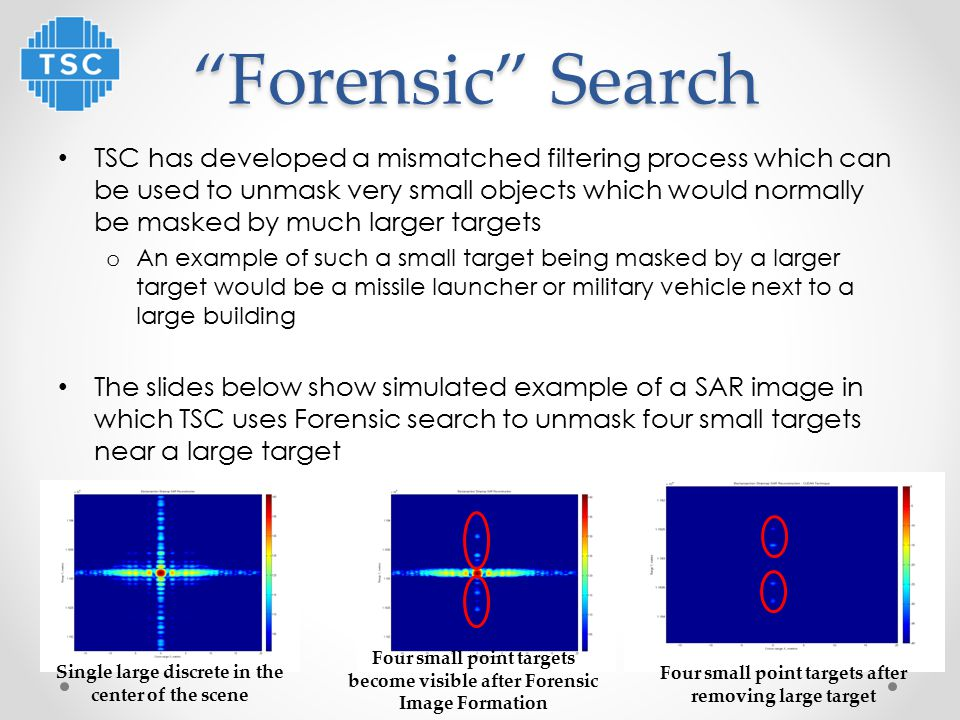 Forensic Search TSC has developed a mismatched filtering process which can be used to unmask very small objects which would normally be masked by much larger targets o An example of such a small target being masked by a larger target would be a missile launcher or military vehicle next to a large building The slides below show simulated example of a SAR image in which TSC uses Forensic search to unmask four small targets near a large target Single large discrete in the center of the scene Four small point targets become visible after Forensic Image Formation 14 Four small point targets after removing large target