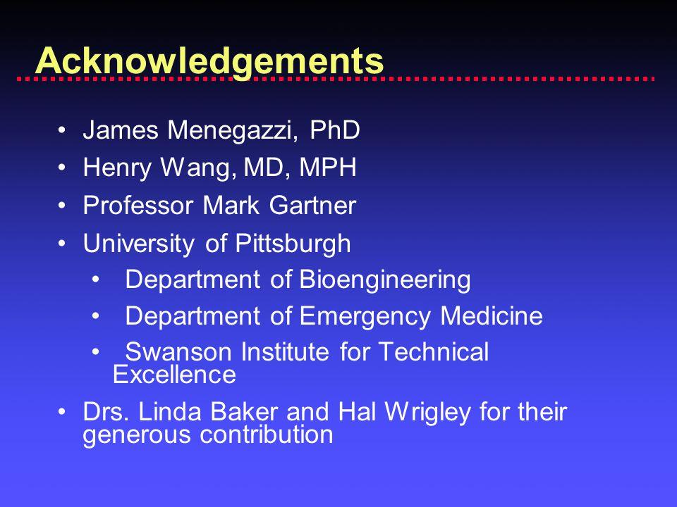 Acknowledgements James Menegazzi, PhD Henry Wang, MD, MPH Professor Mark Gartner University of Pittsburgh Department of Bioengineering Department of E