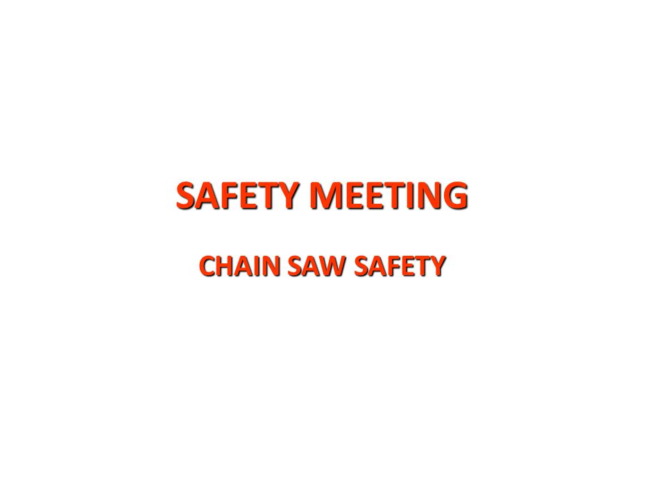SAFETY MEETING CHAIN SAW SAFETY