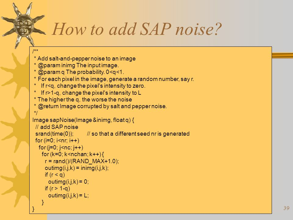 39 How to add SAP noise.