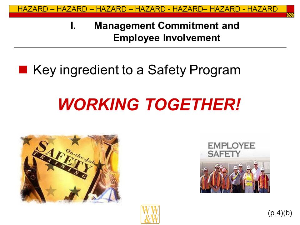 HAZARD – HAZARD – HAZARD – HAZARD - HAZARD– HAZARD - HAZARD I.Management Commitment and Employee Involvement Key ingredient to a Safety Program WORKIN