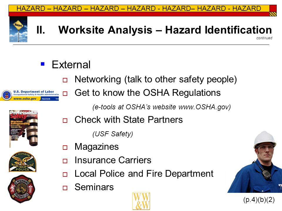 HAZARD – HAZARD – HAZARD – HAZARD - HAZARD– HAZARD - HAZARD II.Worksite Analysis – Hazard Identification continued  External  Networking (talk to ot